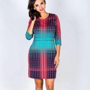 Tracy Negoshian Pink turquoise stripe Julia dress
